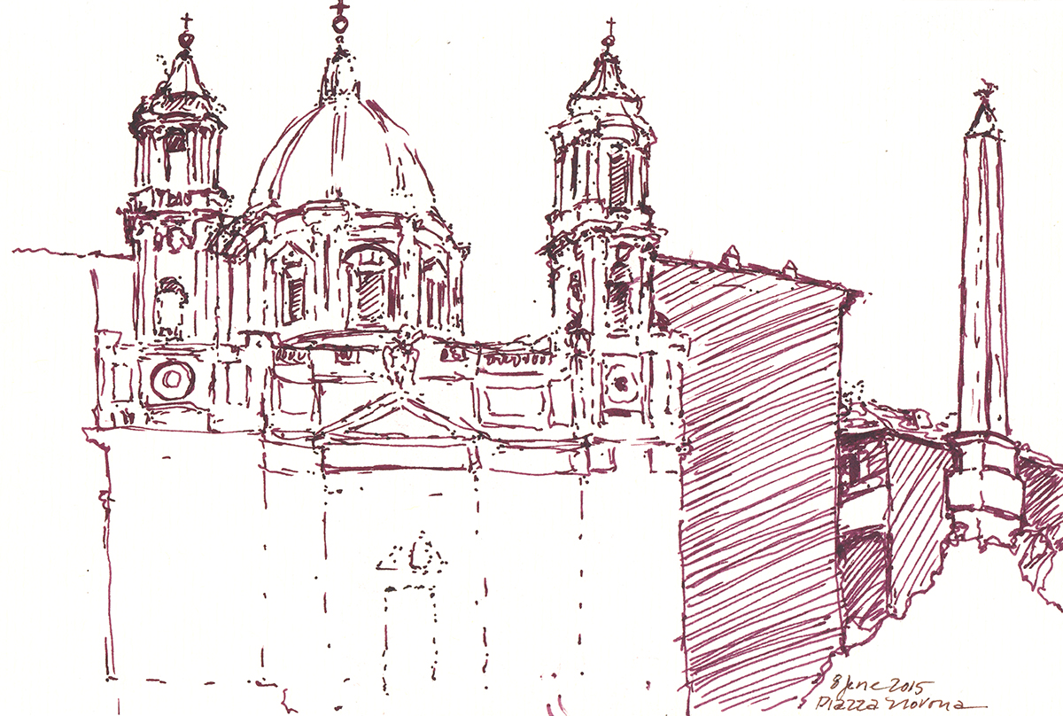Sant'Agnese in Piazza Navona, Rome, Italy, Ink on paper, 5 x 8 inches, 2015