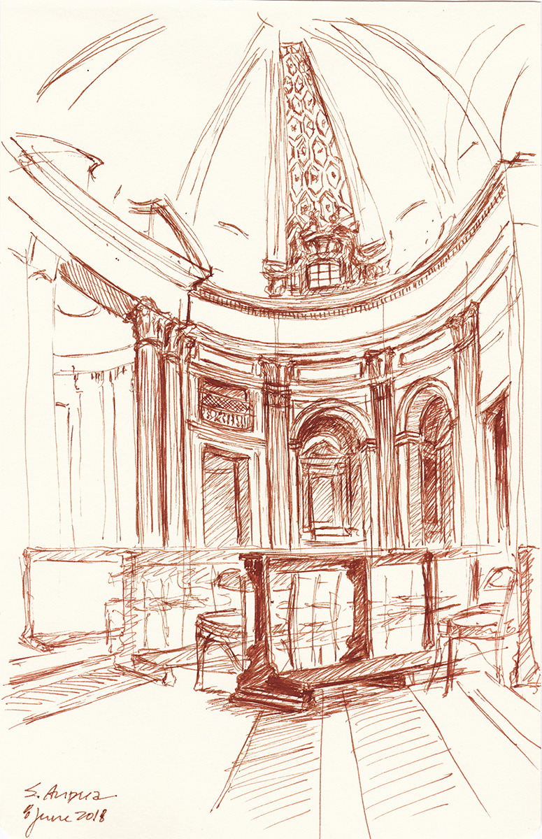 San Andrea, by Bernini, Rome, Italy, Ink on paper, 8 x 5 inches, 2018
