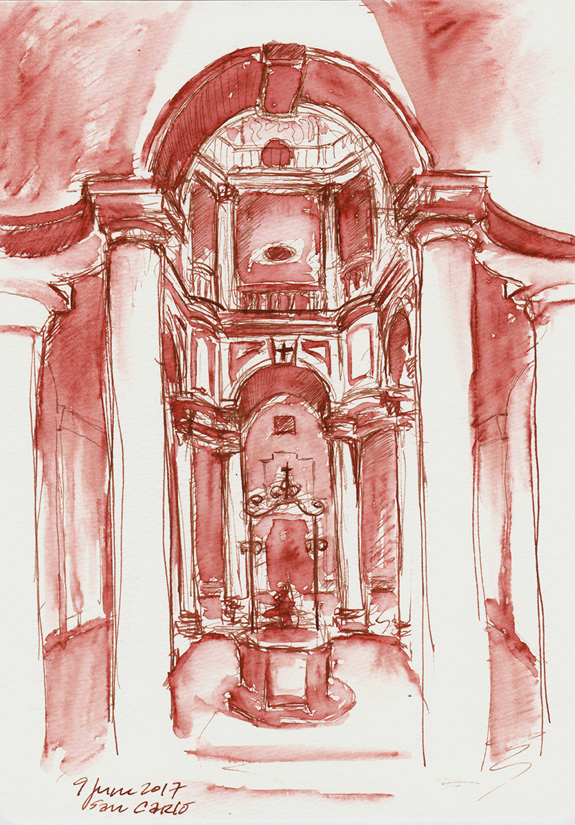San Carlo alle Quattro Fontane: Cloister, by Borromini, Rome, Italy, ink on paper, 5 x 8 inches, 2017