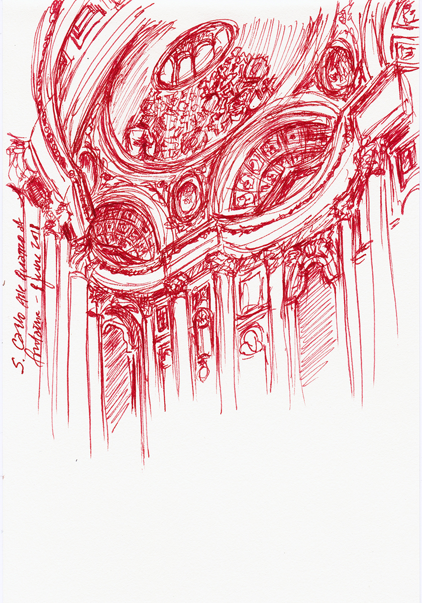 San Carlo alle Quattro Fontane: Dome, by Borromini, Rome, Italy, Ink on paper, 5 x 8 inches, 2018