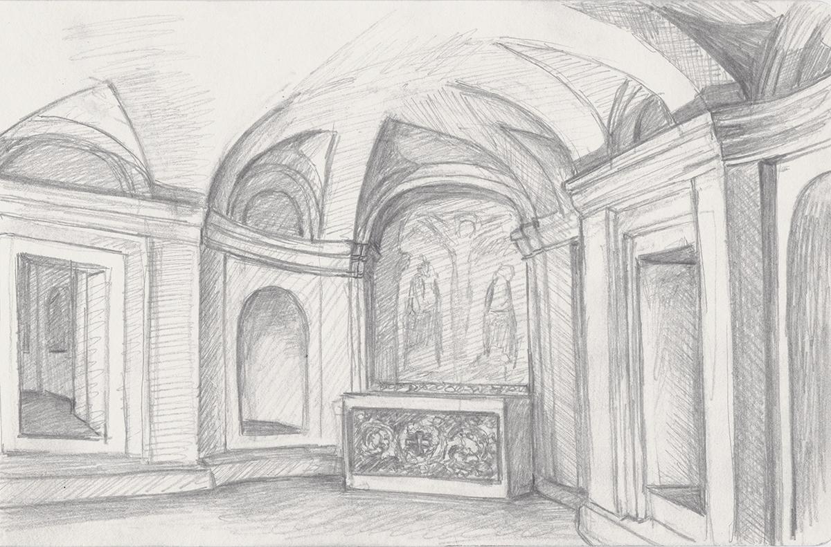 San Carlo alle Quattro Fontane: Crypt, by Borromini, Rome, Italy, Pencil on paper, 5 x 8 inches, 2013