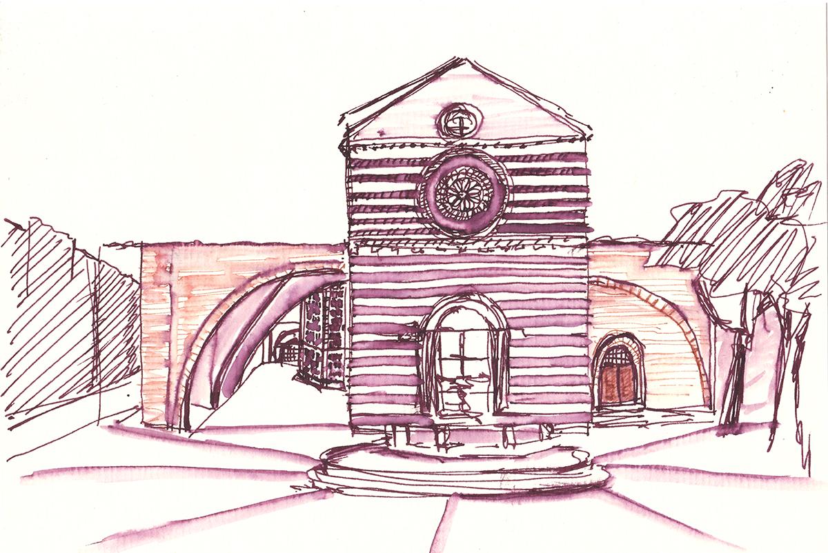 Basilica di Santa Chiara Façade, Assisi, Italy, Ink on paper, 5.5 x 8.25 inches, 2015