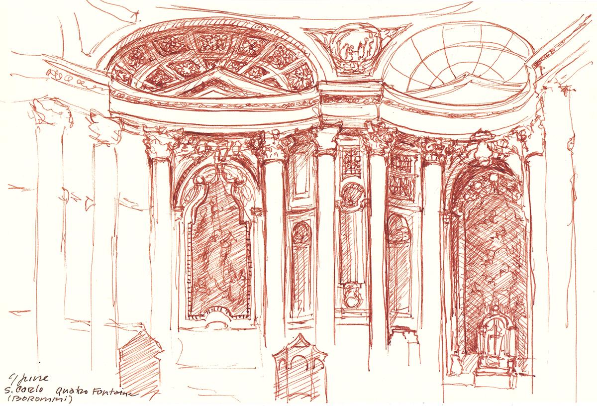 San Carlo alle Quattro Fontane, by Borromini, Rome, Itay, Ink on paper, 5 x 8 inches, 2015