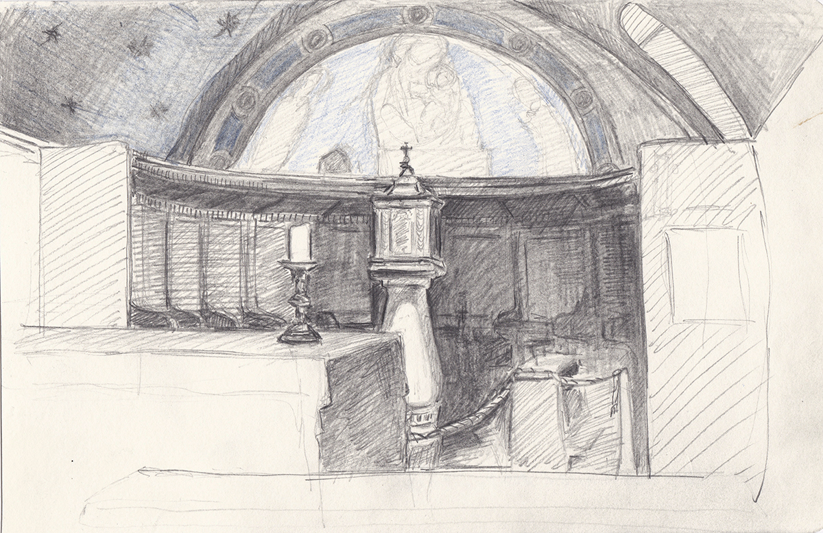 San Damiano Chapel, Assisi, Italy, Pencil on paper, 5 x 8 inches, 2013