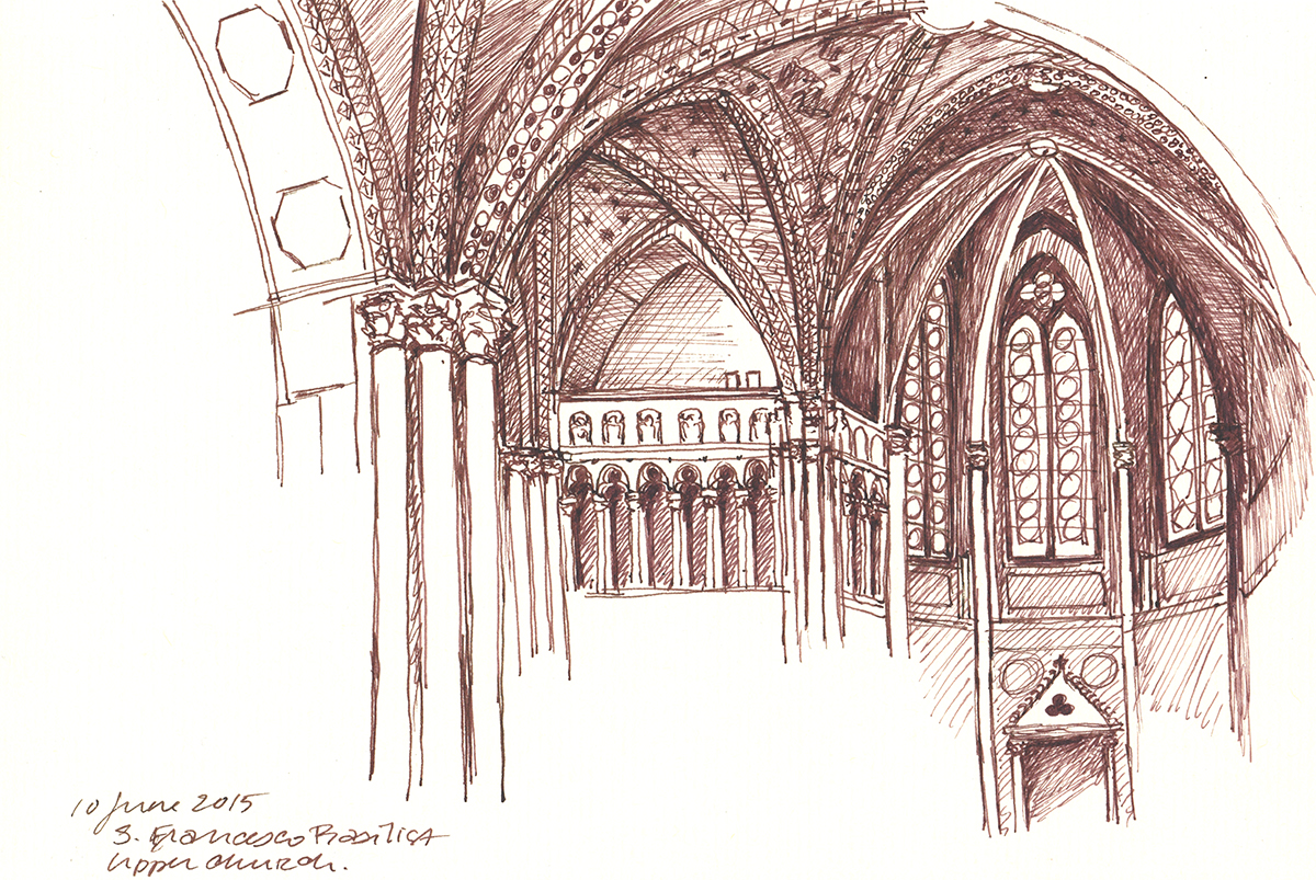 San Francesco Upper Basilica, Assisi, Italy, Ink on paper, 5.5 x 8.25 inches, 2015