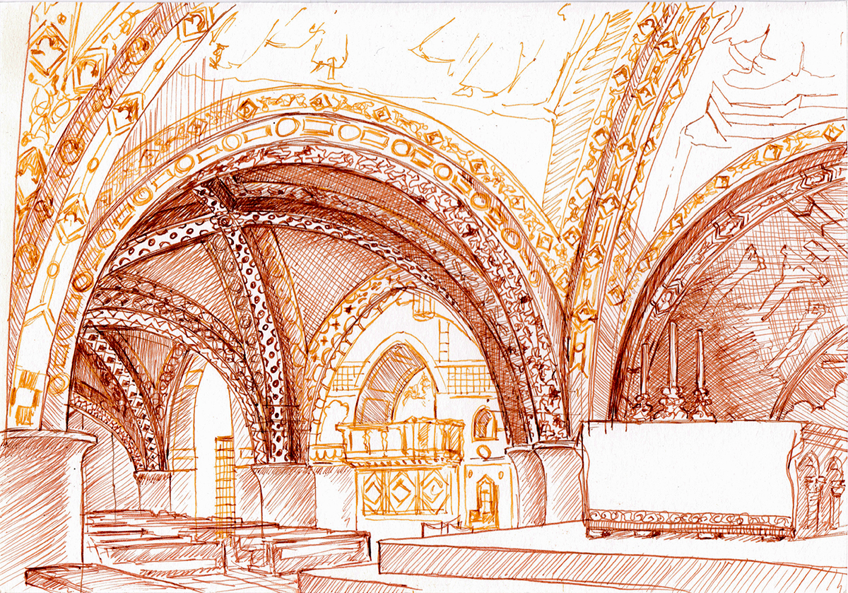 San Francesco Lower Basilica, Assisi, Italy, Ink on paper, 6 x 9 inches, 2016