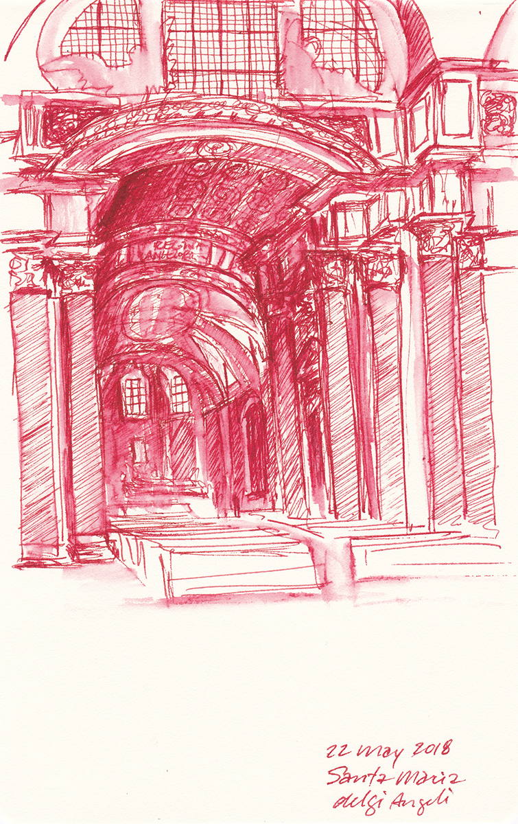 Santa Maria degli Angeli, by Michelangelo, Rome, Italy, Ink on paper, 5 x 8 inches, 2018