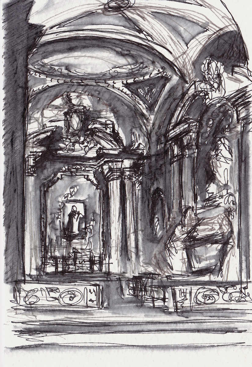 Santa Maria Minerva: Side Chapel, Rome, Italy, Ink on paper, 5 x 3.5 inches, 2018