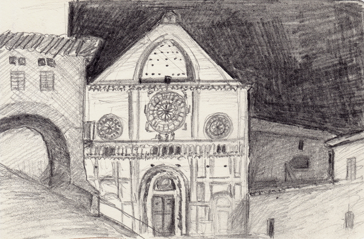 San Rufino Cathedral Façade, Assisi, Italy, Pencil on paper, 3.5 x 5.5 inches, 2013