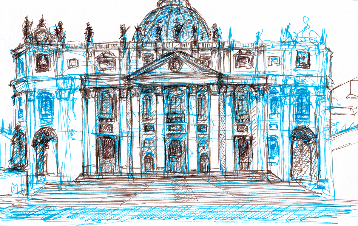 St. Peter's Basilica Façade, Vatican City, Italy, Ink on paper, 5 x 8 inches, 2013