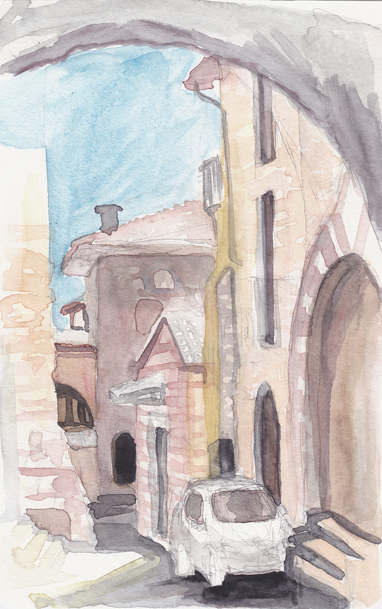 Via San Gregorio, Assisi, Italy, Watercolor on paper, 5 x 8 ¼ inches, 2018