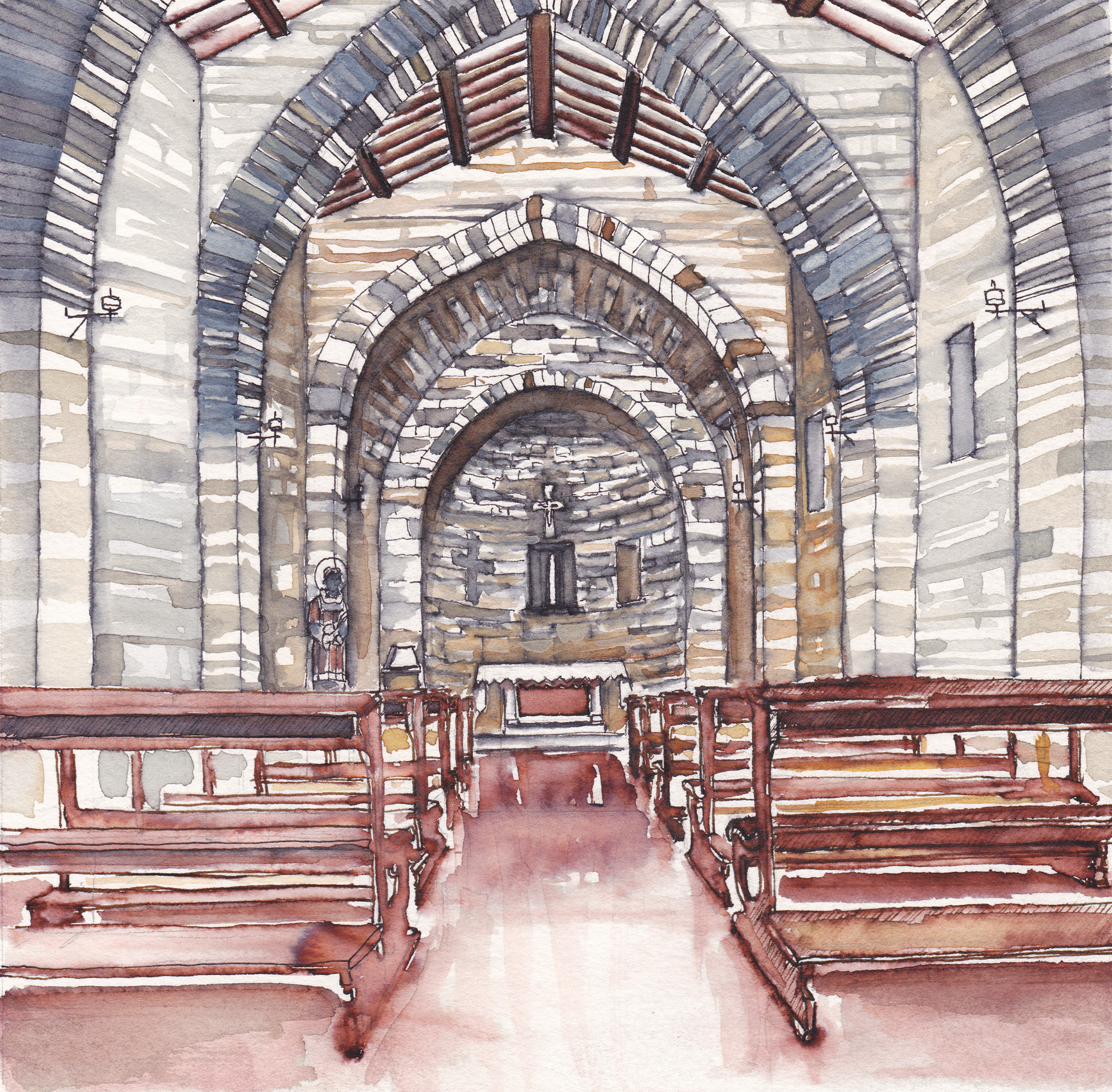 Santo Stefano Interior, Assisi, Italy, Watercolor on paper, 9 x 9 inches, 2019