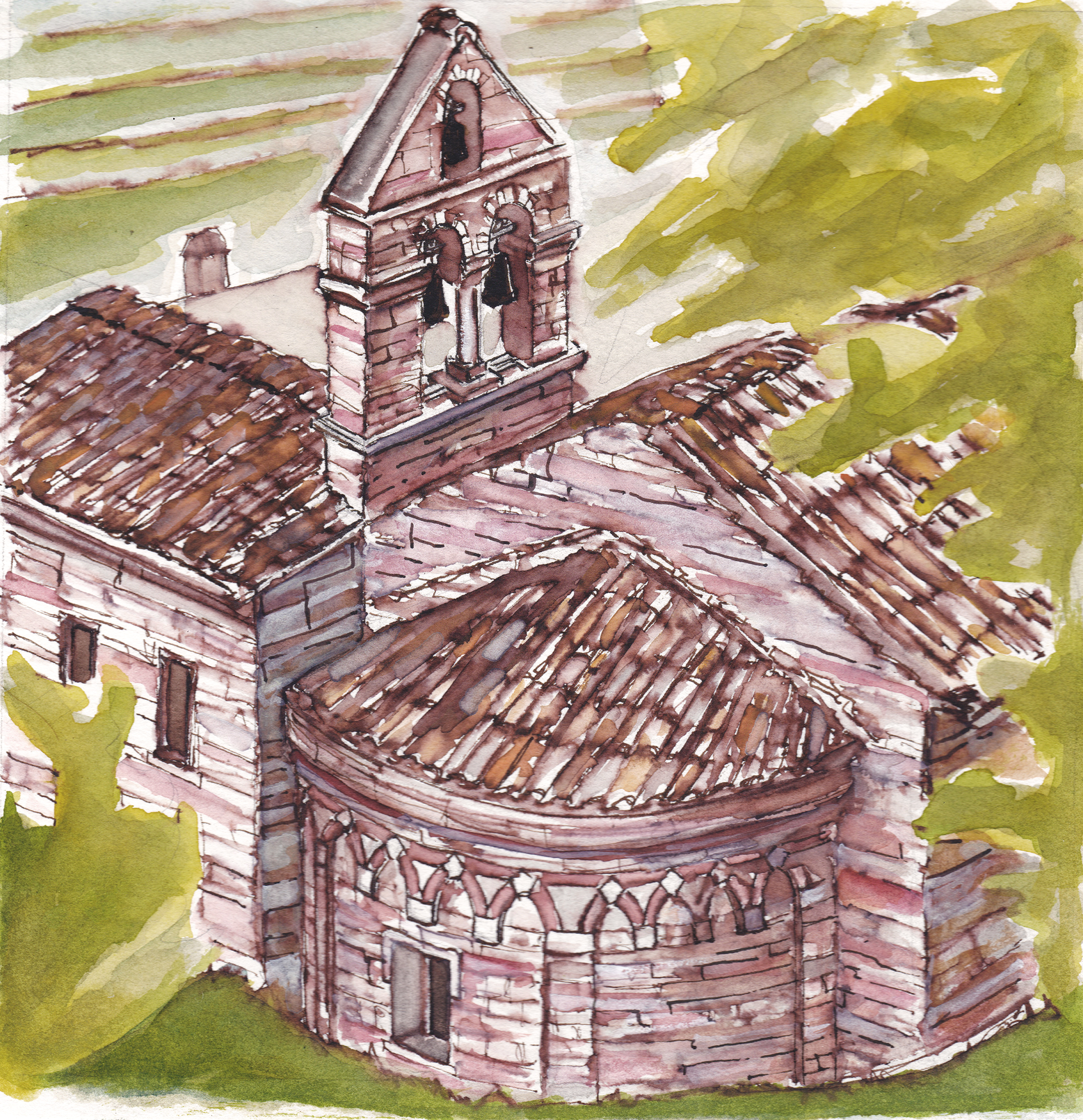 Santo Stefano Exterior Apse, Assisi, Italy, Watercolor on paper, 9 x 9 inches, 2019