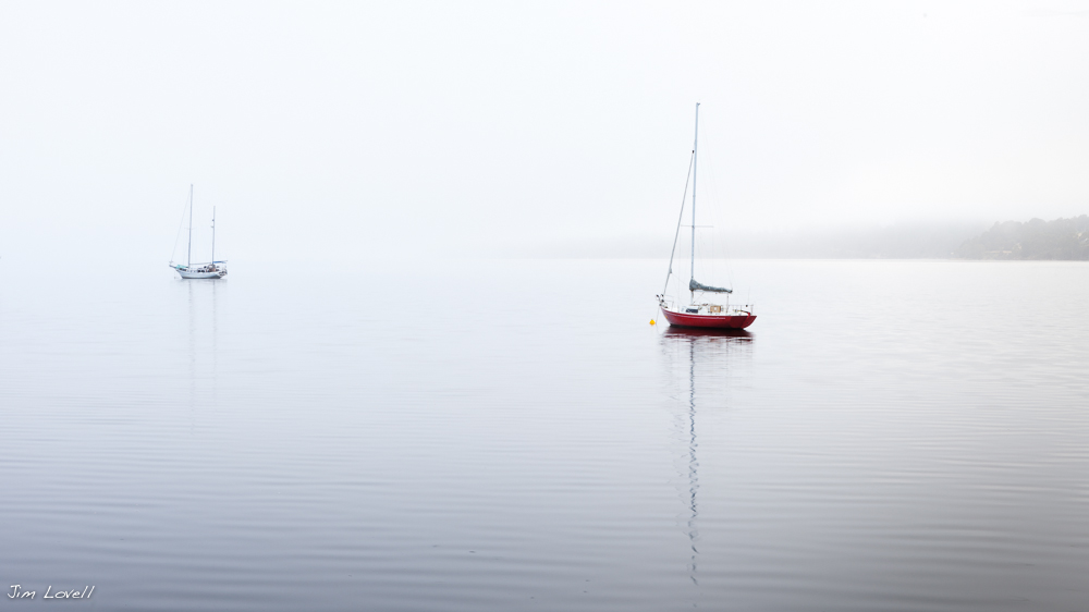 Red Yacht, Foggy Morning