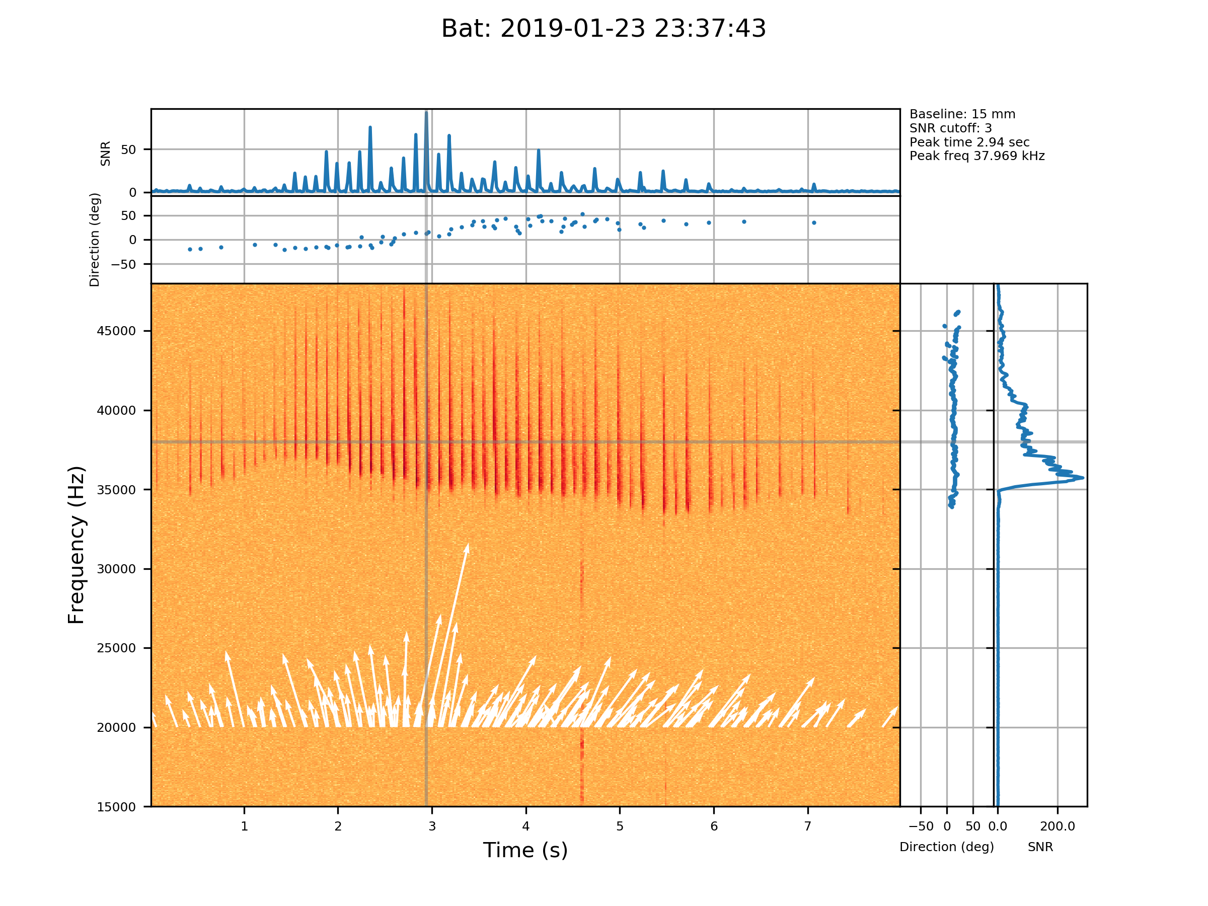A long-eared bat  (Nyctophilus spp)  (I think!) observed on 23 Jan 2019. The main panel shows the spectrogram and the white vectors are the measurements of direction to the signal (vector length is related to signal strength). The top two panels show signal strength (measured in signal-to-noise ratio) and direction as a function of time at 38 kHz (indicated by the horizontal line). The two right panels show SNR and direction as a function of frequency (indicated by the vertical line) at the time of the peak. Note the clear change in direction as the bat flies past!