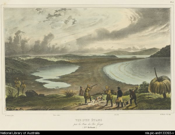 The Sound, by Louis de Sainson, depicts the crew of the Astrolabe atop Mount Adelaide. Green Island is just north of the channel into Oyster Harbour.