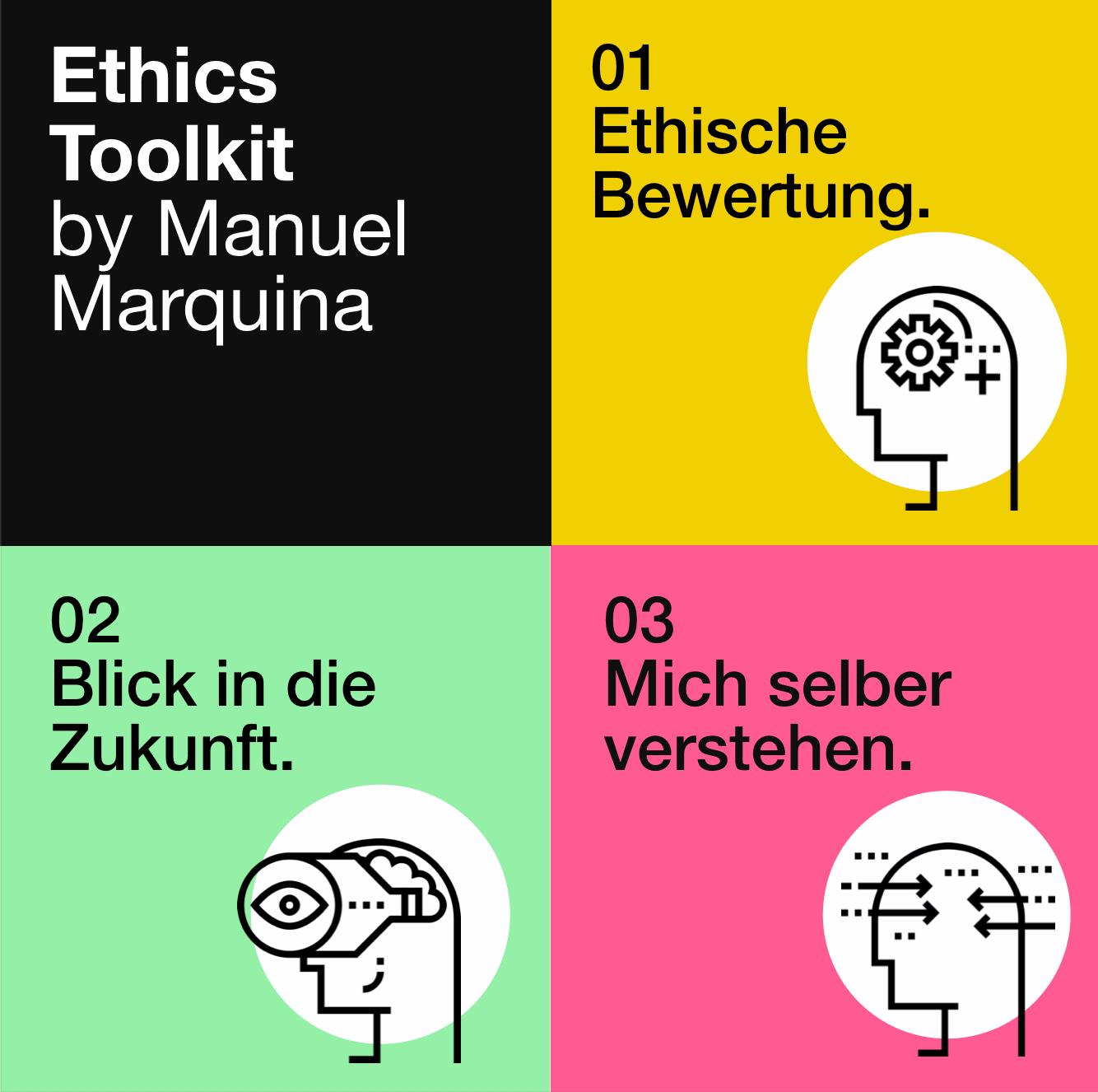 Ethics Toolkit - Apply Ethics to your work.Jedes Set beinhaltet Fragen, um unbeabsichtigte Folgen vorherzusehen. Nehmt diese auch zum nächsten Brainstorming oder Meeting mit, um die Auswirkungen eurer Produkte besser zu verstehen.
