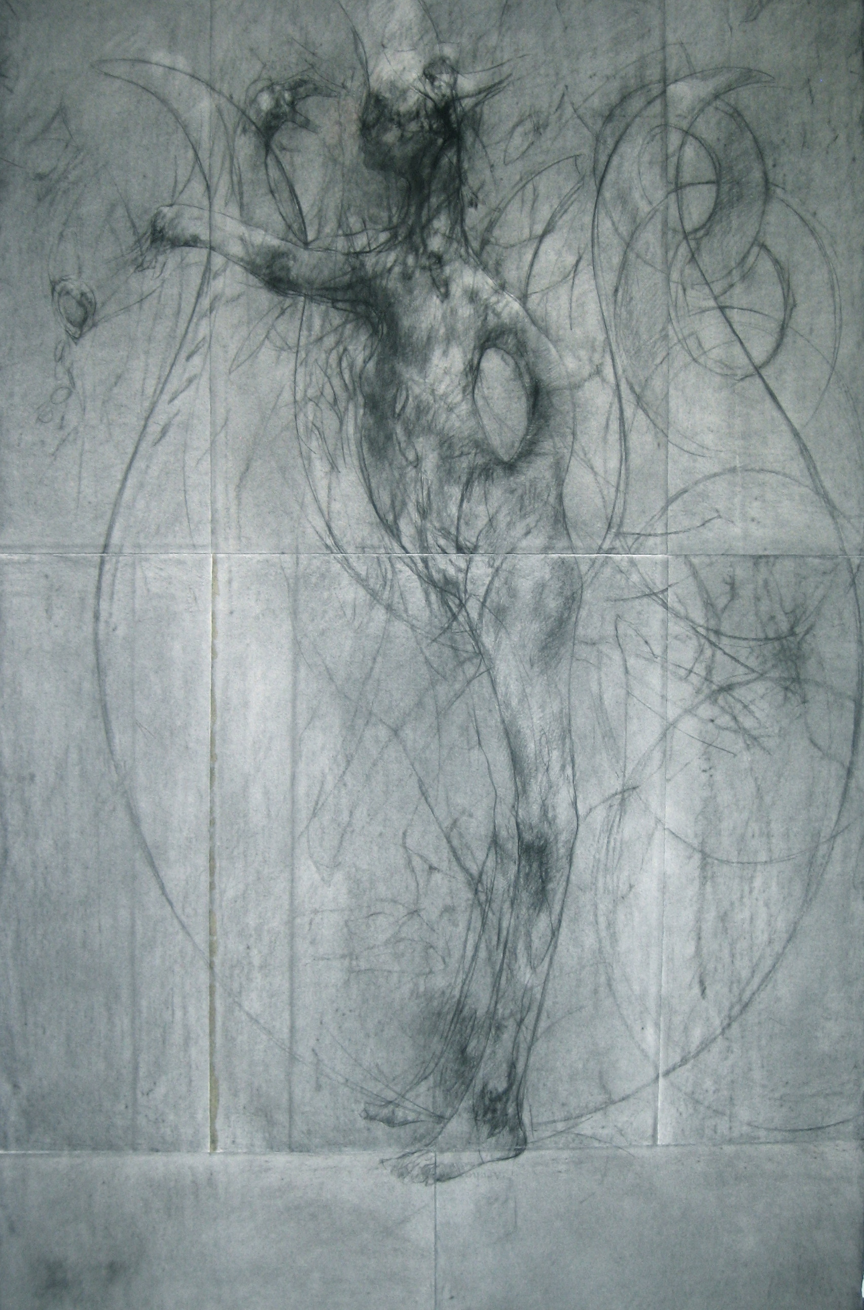 lyre, conté and charcoal on arches paper 181cm x 112cm