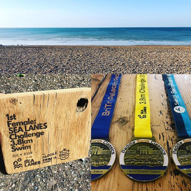 #paddleswimclassics - 1 week to go!! That's right it's nearly here!, we have medals, we have trophies, we have sunshine ☀️ and we are praying for calm seas! Places are still available for the 2.5km and 1.5km swims but we expect to sell out so get in quick. Visit www.brightontri.org to enter. Full race day instructions also now on there. @paddleroundthepier #openwaterswimming #openwater #seaswimming #brightonbeach @brightonpalacepier @swimtrek @sealanesbtn