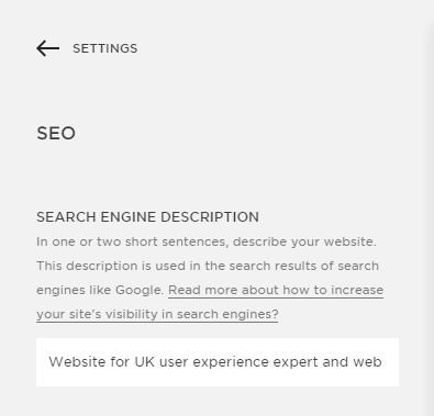 The Squarespace Search Engine Description field.