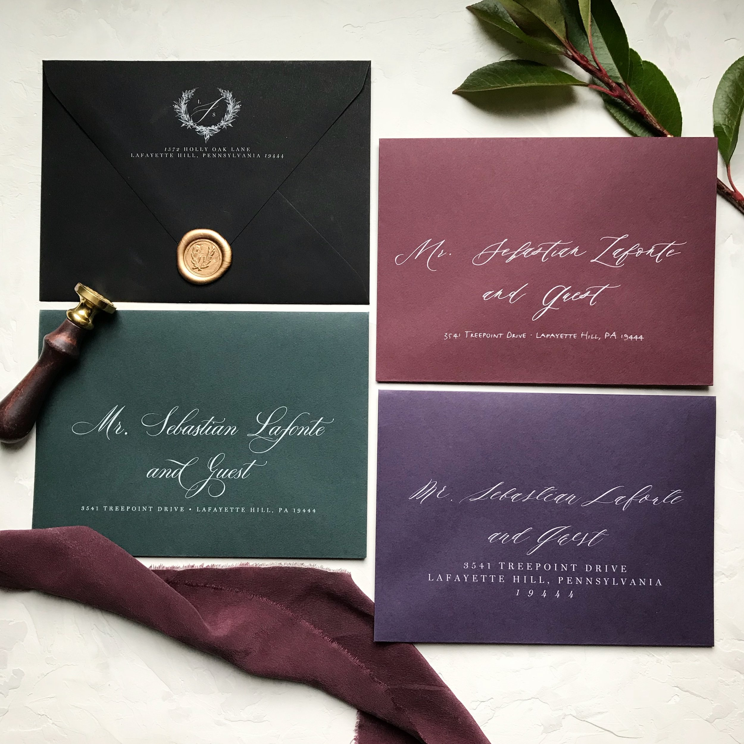 Gorgeous digital white ink calligraphy. A perfect option for dark-colored envelopes.