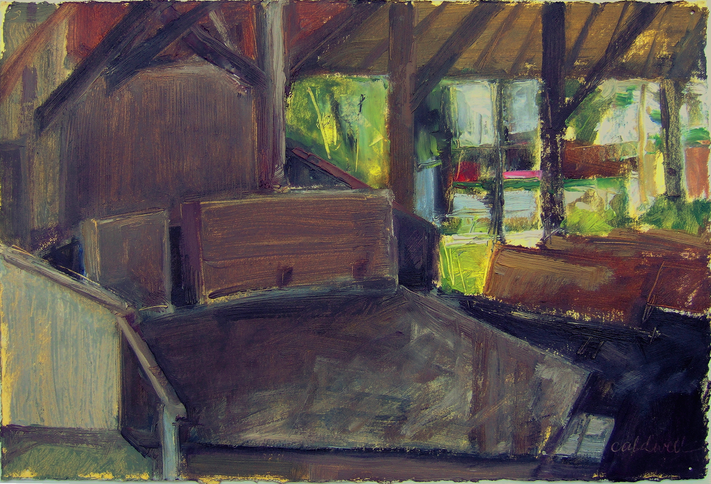 """Playhouse 7 1/2 x 11"""" Oil on Paper"""