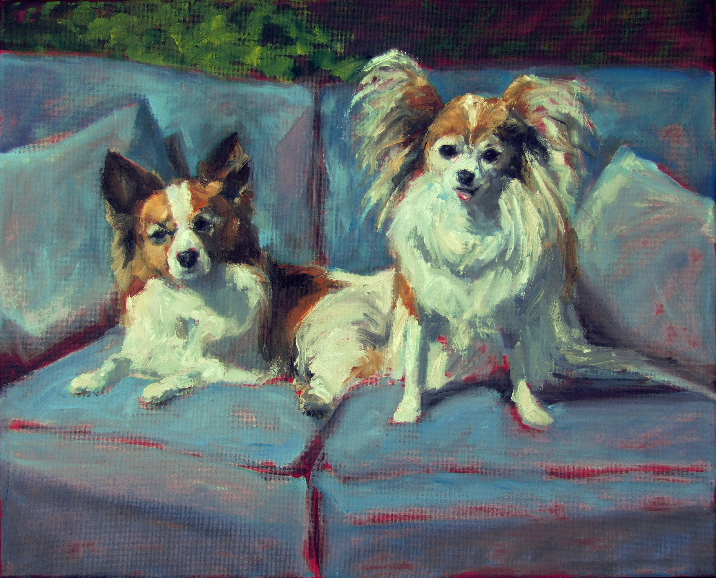 "Two Papillons on the Porch 16 x 20""  Oil on Canvas"