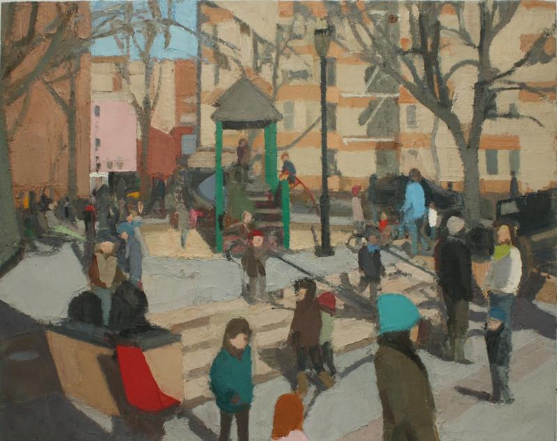 "John Dubrow - Winter Playground, 2011-13, Oil on linen, 46"" x 58"""