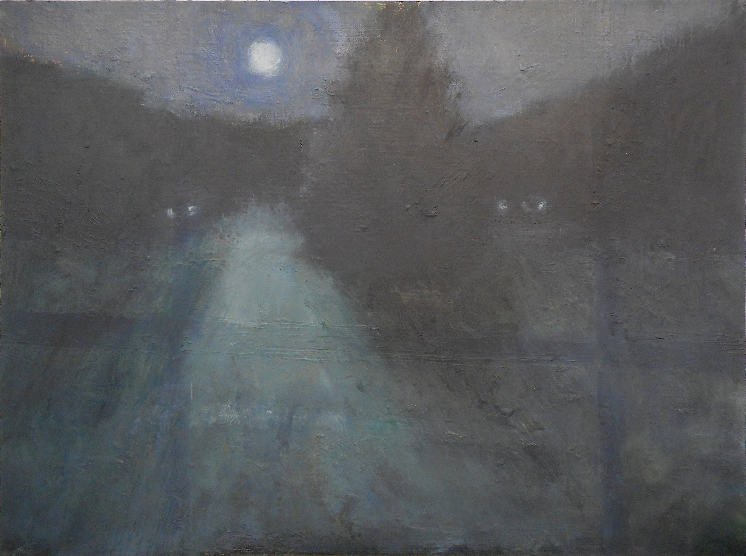 """golf course before dawn, from memory/imagination, 9 x 12"""" oil/paper/panel"""