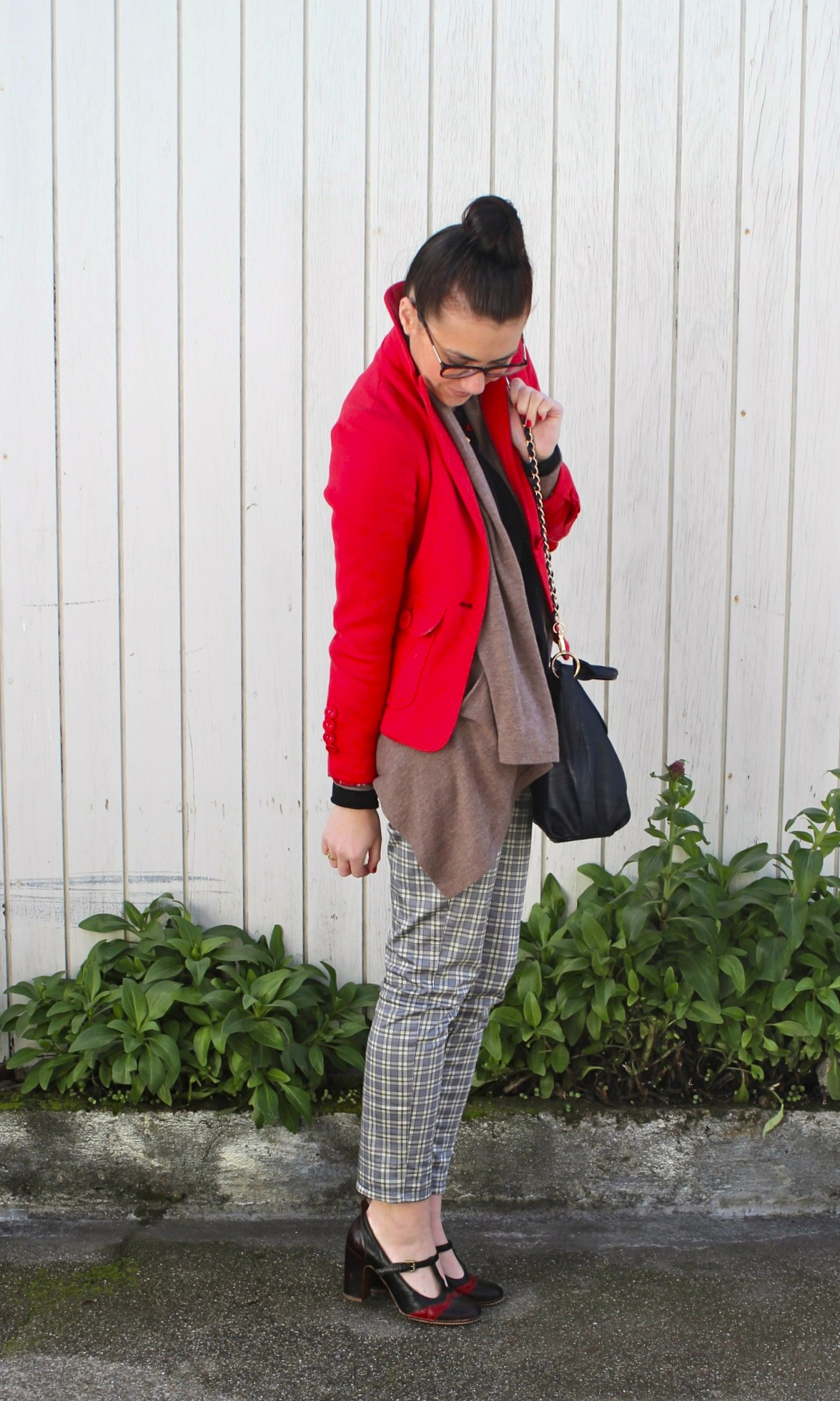 Red Blazer: Forever21; Draped Oatmeal Sweater: Jigsaw London; Black Top: Vince; Plaid Legging Pants: Uniqlo; Leather Color-Blocked Mary Janes: Frye; Geometric Necklace: Vintage, circa 1970s; Glasses: Prada