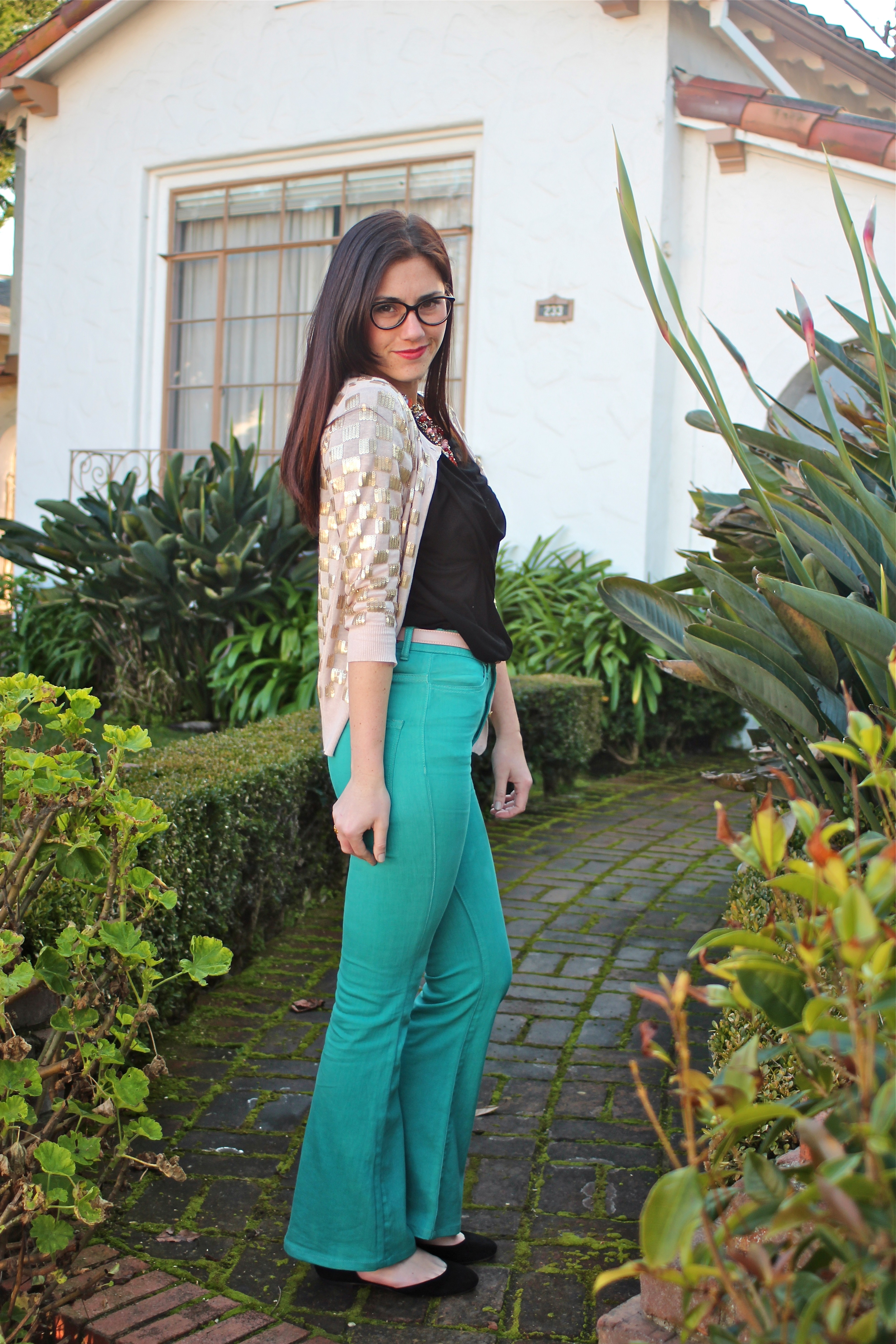 Sequin Checkered Cardigan : French Connection;  Black Twist Front Tee : Jigsaw London;  Teal High Rise Flares : BDG, Urban Outfitters;  Flats : Dolce Vita, Jigsaw London;  Necklace : Anthropologie