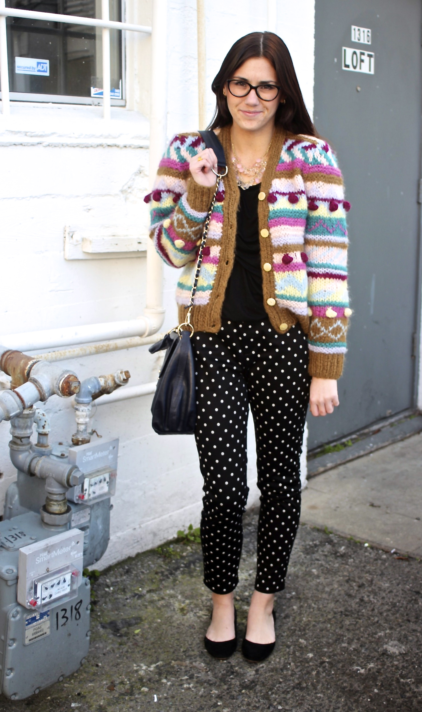 Bubble Knit Mohair Sweater: Vintage, circa 1980; Twist Front Top: Jigsaw London; Polka Dotted Easy Leggings: Uniqlo; Laci Flat: Dolce Vita, Jigsaw London; Necklace: Urban Outfitters