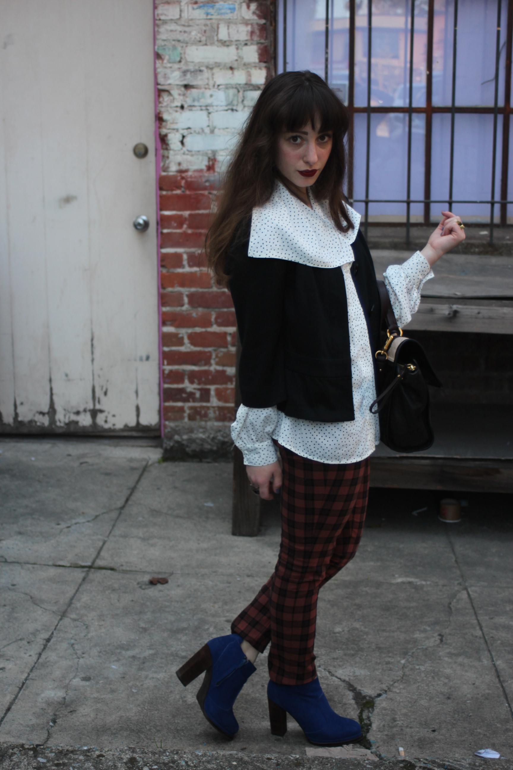 Sweater: Uniqulo, Blouse: Vintage, Plaid Pants: Ben Sherman, Boots: Jeffrey Campbell, Flipping Out Bag: Marc by Marc Jacobs