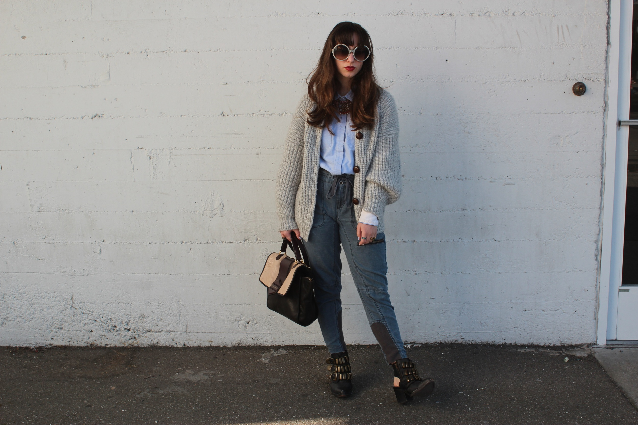 """Sweater: Étoile Isabel Marant, Chambray: H&M, Pants: Free People, Tripoli Boots: Jeffrey Campbell, Statement Necklace: Anthropologie, Flipping Out Bag: Marc by Marc Jacobs, Sunglasses: Tom Ford """"Carrie"""""""