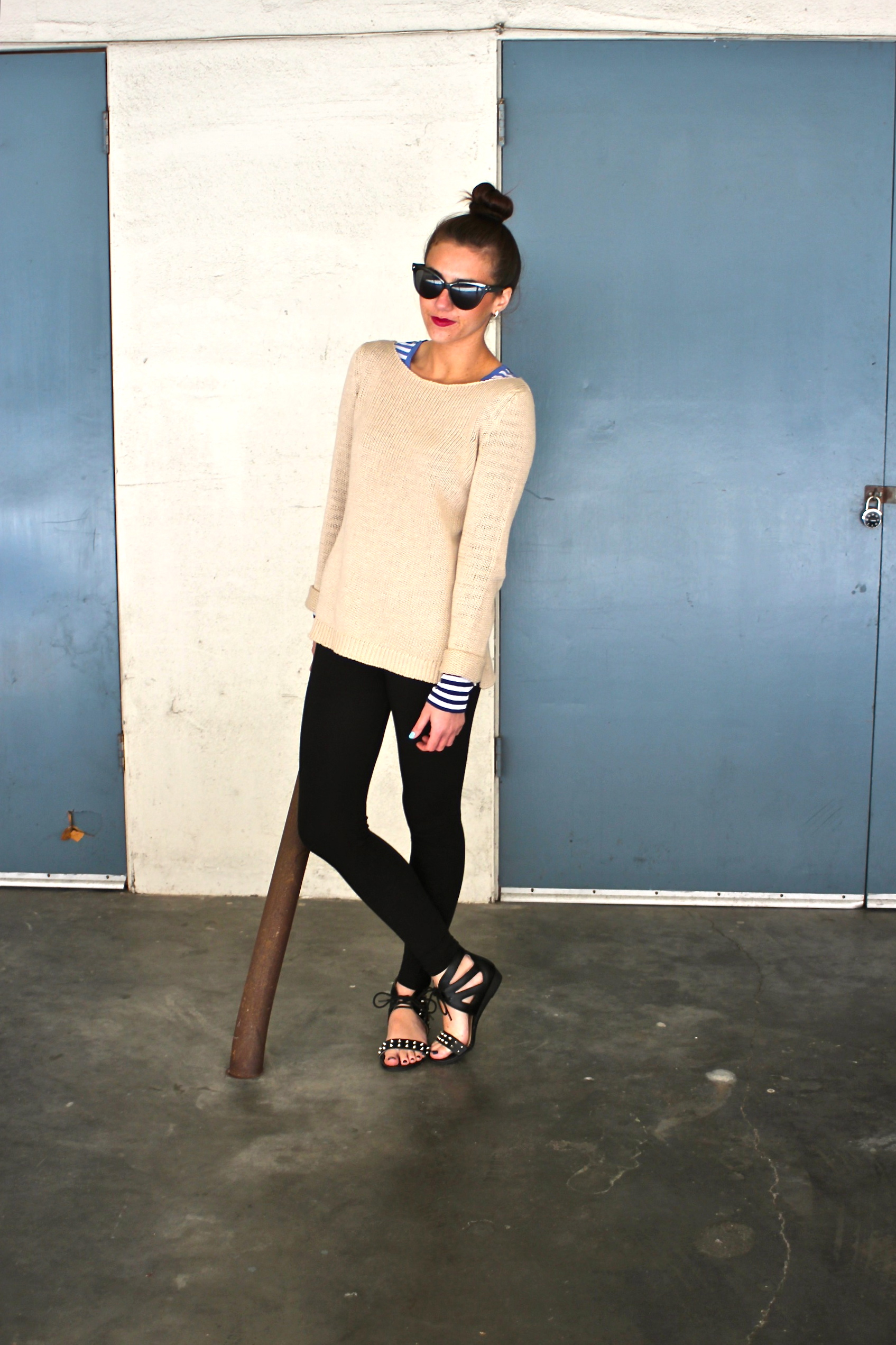 Stripe Top : Jigsaw London |  Luxury Cotton Tunic:  Kew |  Leggings : Jigsaw London | Helaine Sandals: MIA