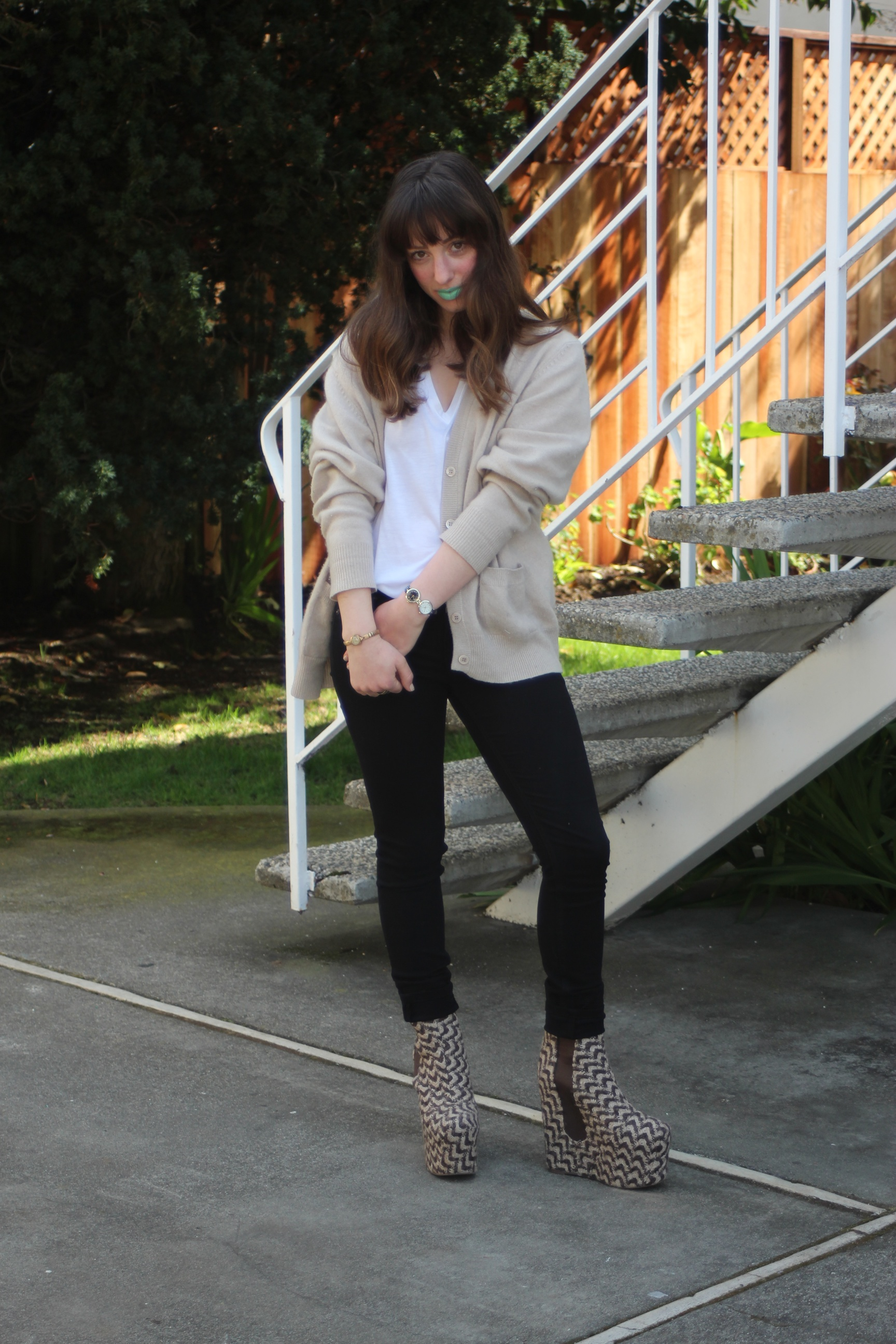 """Sweater: Vintage, T-Shirt: Helmut by Helmut Lang, Jeggings: Rag & Bone, Bolen Fab Platforms: Jeffrey Campbell, Two-Faced Watch: Nordstrom, Lipstick: """"Mint to Be"""" by Lime Crime Makeup, All Other Jewelry: Vintage"""