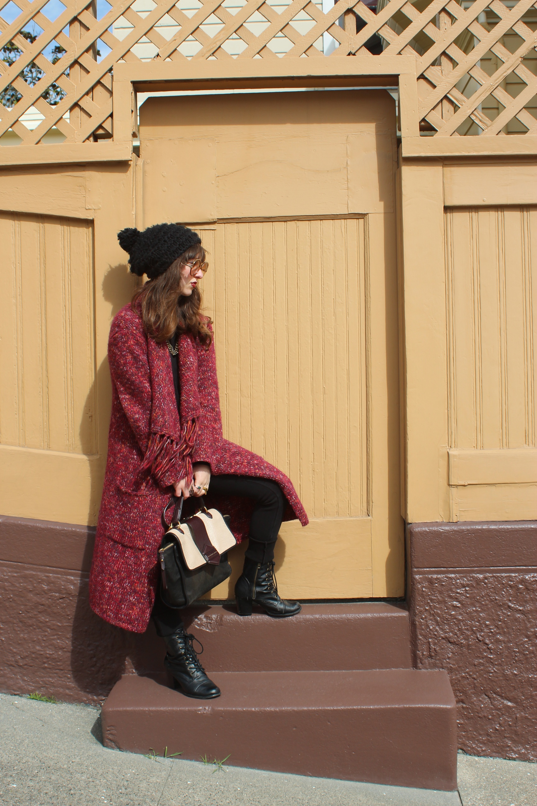 Blanket Coat: Lucky Brand, Sweater: Vince, Twill Pants: Citizens of Humanity, Boots: Bonnibel (from  Sway ), Flipping Out Bag: Marc by Marc Jacobs, Sunglasses: Christian Dior (Vintage)