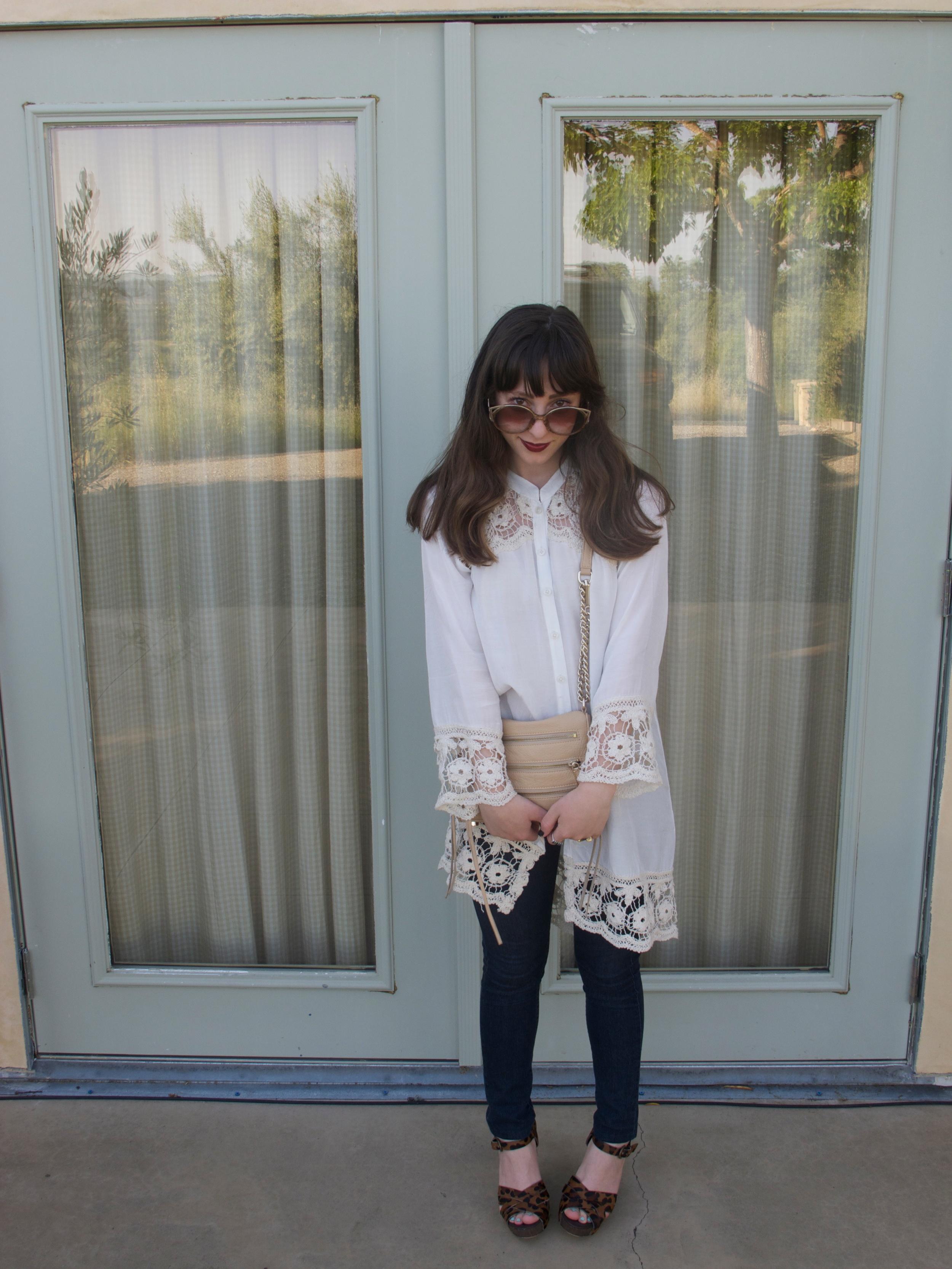Silk & Crochet Tunic: Free People, Dark Skinny Denim: James Jeans, Leopard Wedges: Sam Edelman, 5-Zip Mini Purse: Rebecca Minkoff
