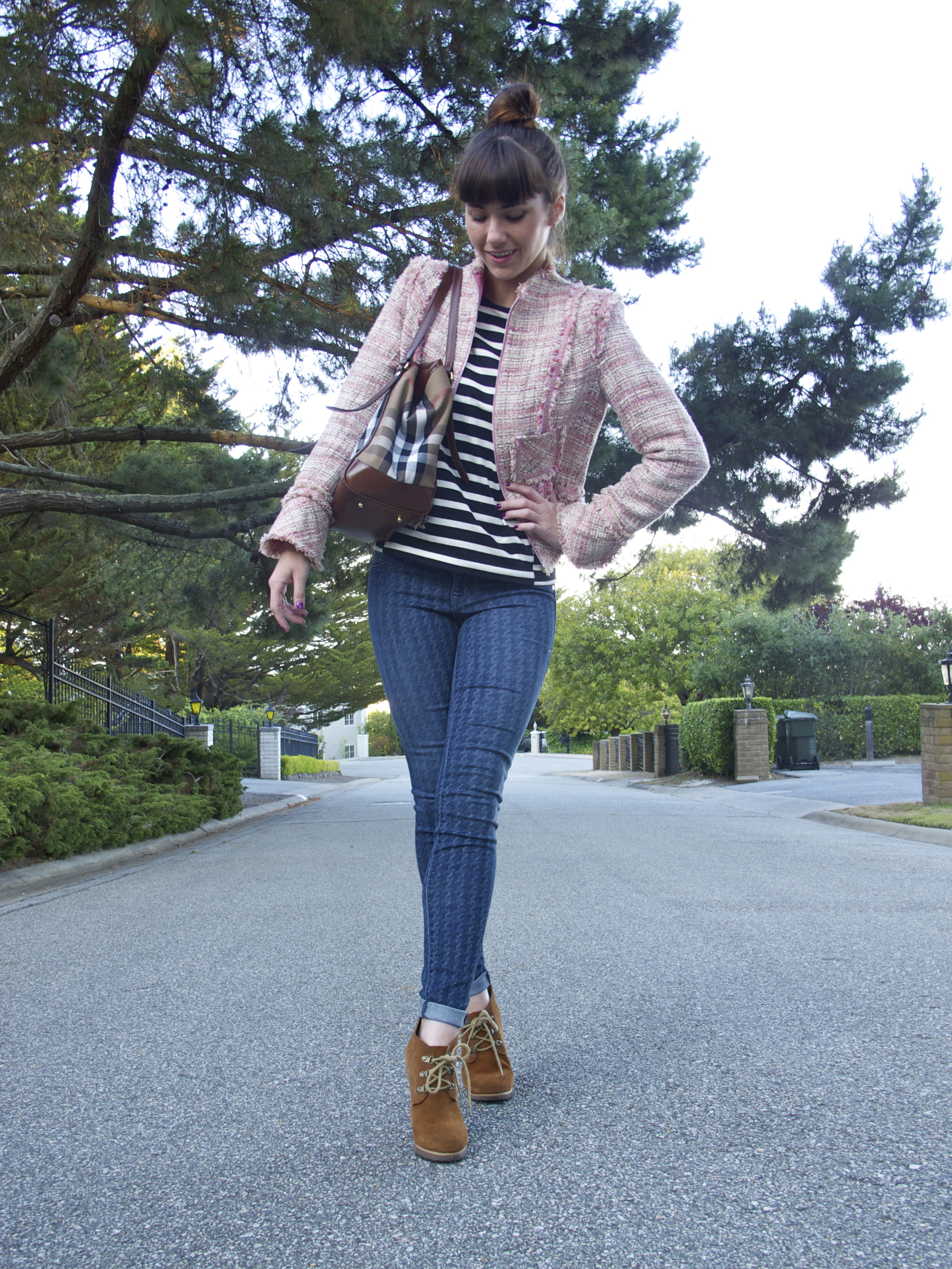 Tweed Jacket: Charles Chang Lima; Stripe Sweater: J.Crew; Skinny Jeans: Level 99, Morning Glory; Booties: Steve Madden; Tote: Burberry