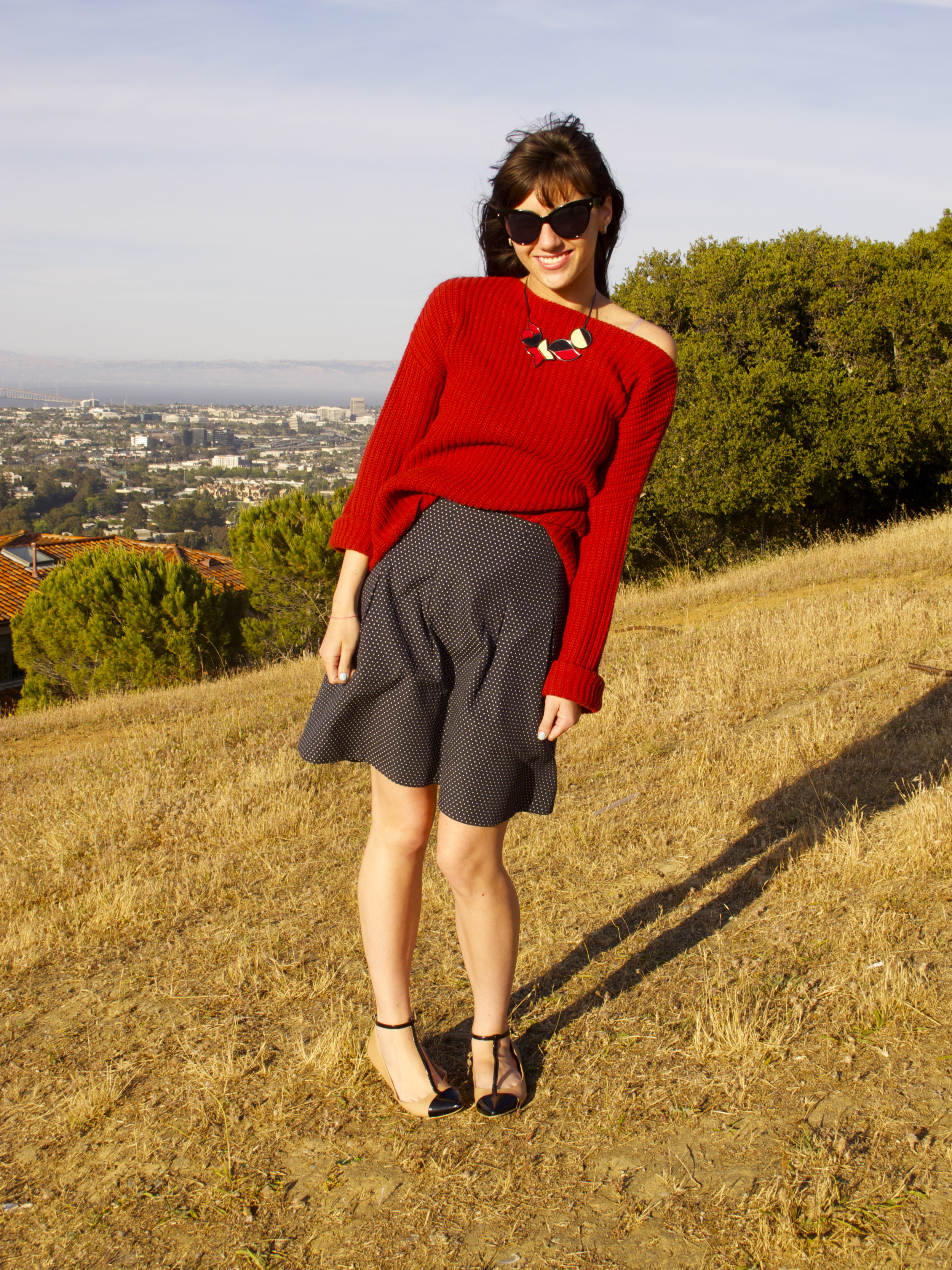 Sweater: Vince, Loft; Polka Dot Skirt: Jigsaw London; Shoes; Sole Society, Nordstroms; Necklace; Vintgae