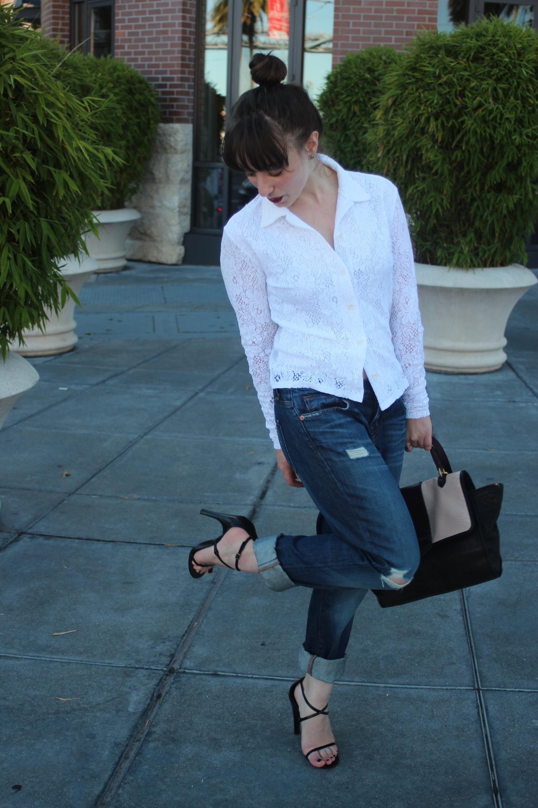 """Top: Vintage, Jeans: J Brand """"Aidan"""", Shoes: Gucci, Bag: Marc by Marc Jacobs"""