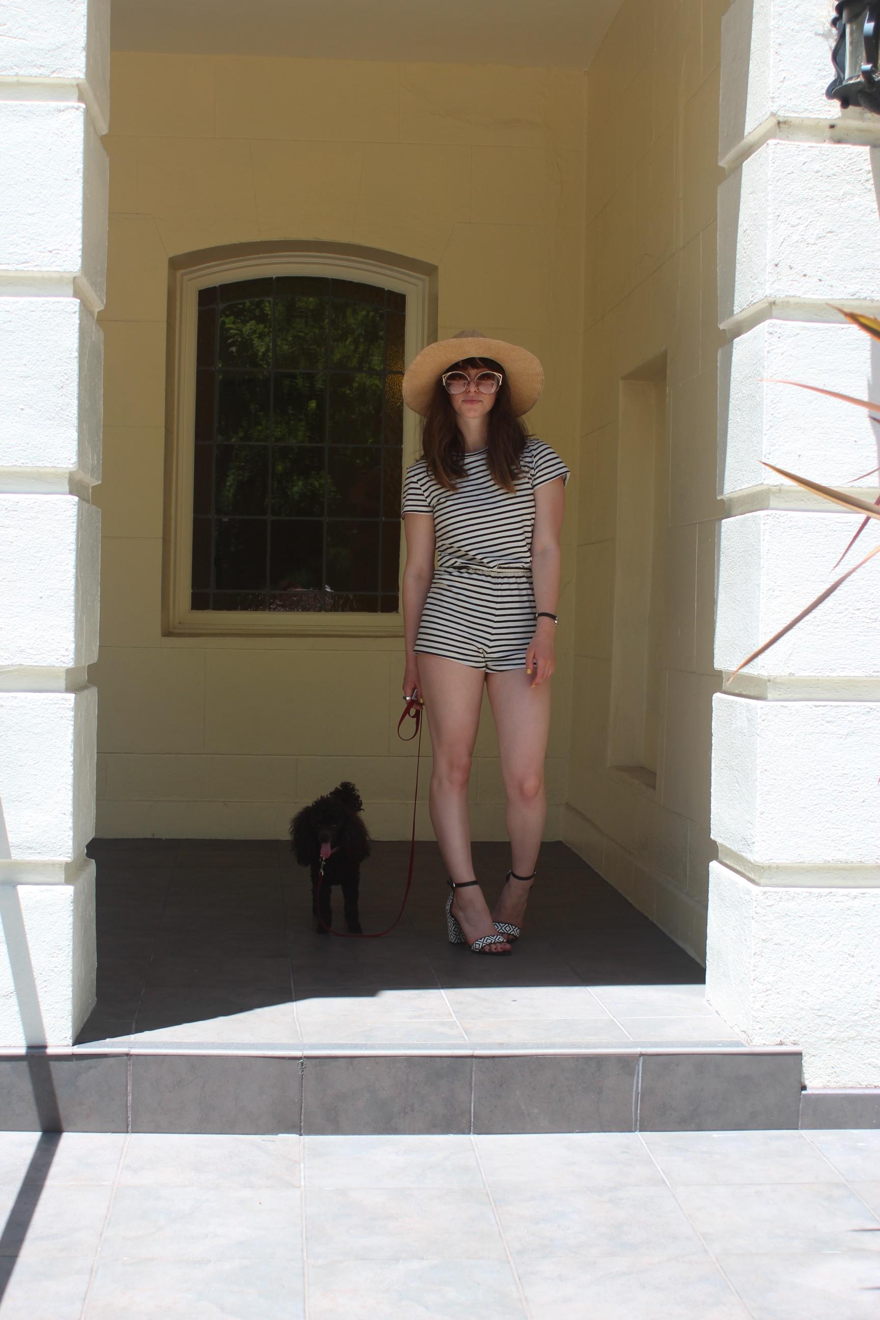 Romper:  American Apparel , Sandals: Zara, Hat: Sway, Watch: Nordstrom