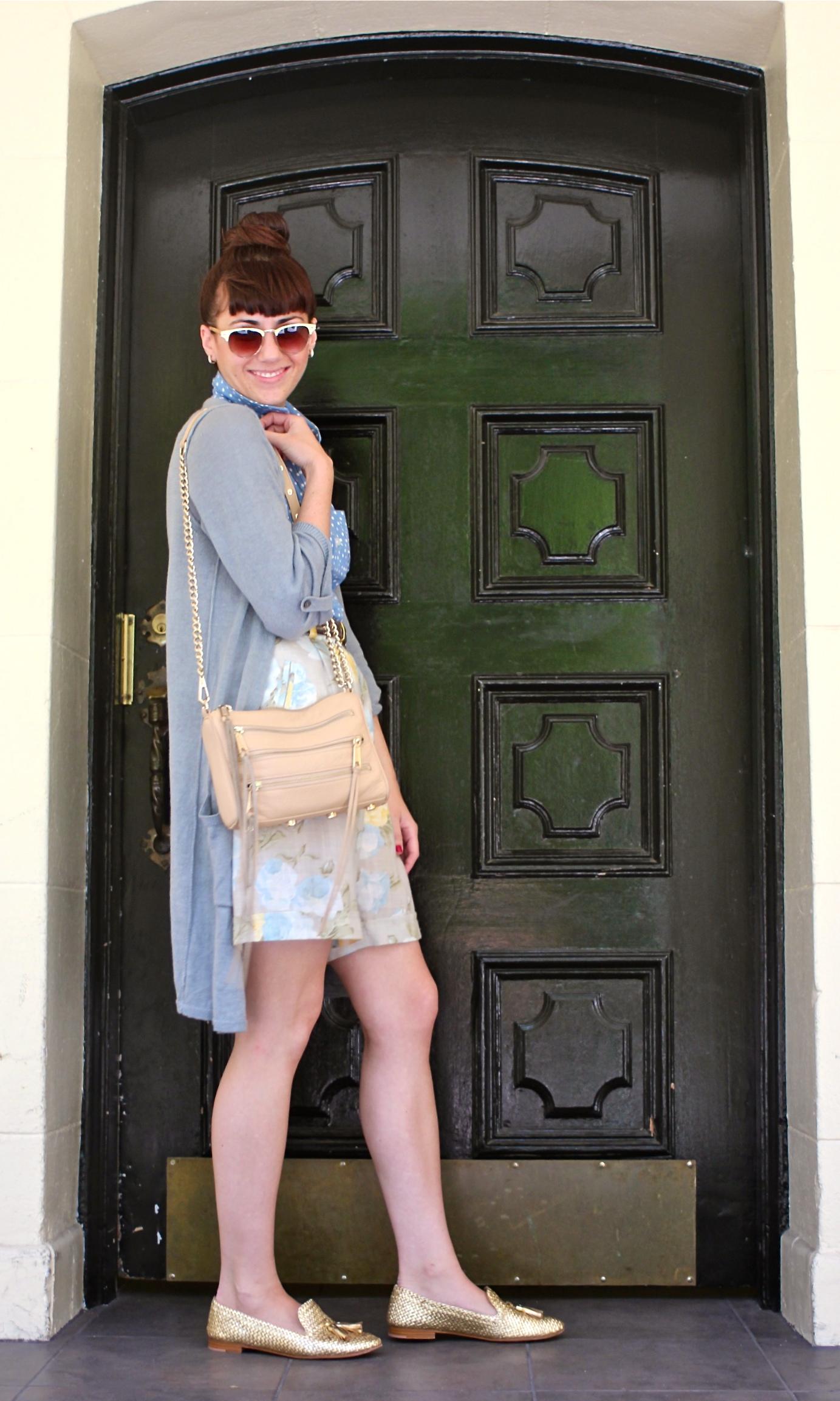 Polka Dot Top: Forever21; Floral Shorts: Vintage, circa 1990s; Linen Tab Sweater: Jigsaw London; Shoes:Prada; Bag: Rebecca Minkoff; Belt: Jaeger