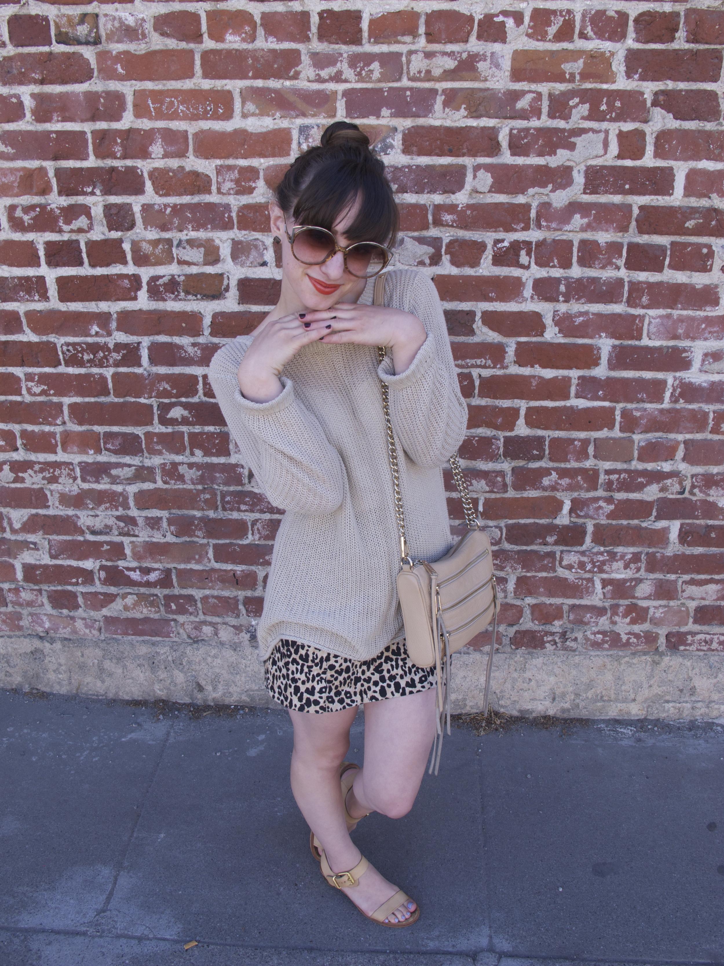 Sweater: Joie, Skirt: Forever21, Sandals: Sam Edelman, 5-Zip Mini Bag: Rebecca Minkoff, Sunglasses: Christian Dior (vintage)