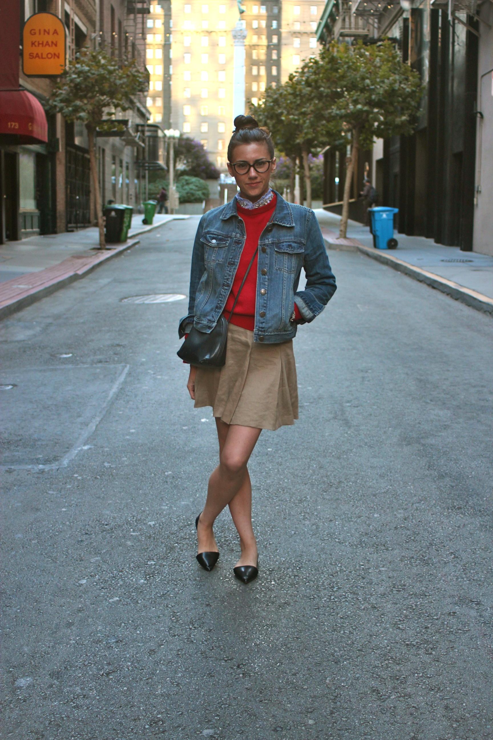 Denim Jacket: J.Crew; Wool Sweater: Vintage; Blouse: J.Crew; Skirt: Alice + Olivia; Flats: Zara; Purse: Vintage, circa 1980 ; Bracelet: Liquid Metal Jewelry