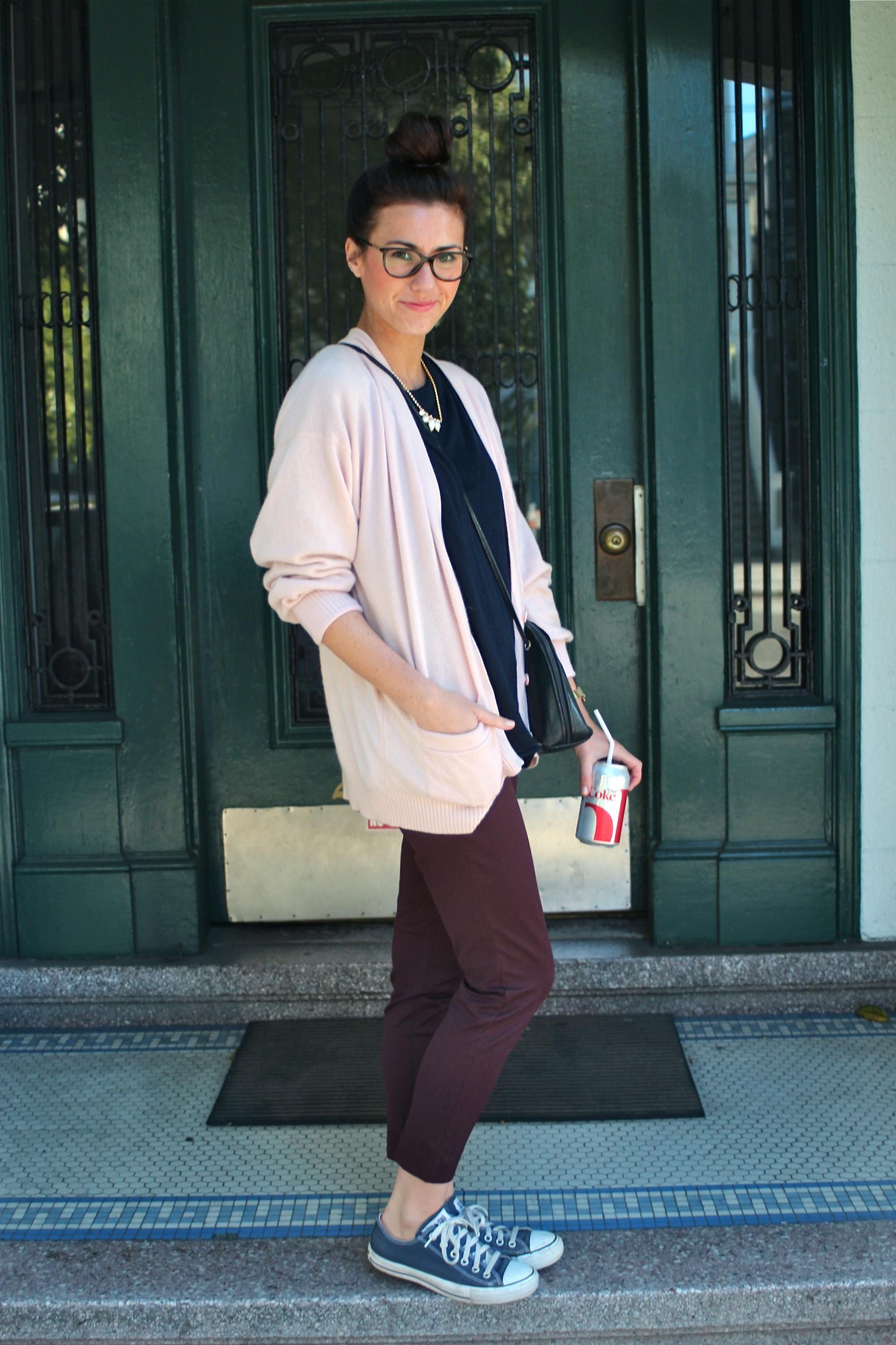Cashmere Cardigan: Vintage;  Sweater: Jigsaw London ;  Elliot Pant: Babaton, Aritzia ; Sneakers: Converse; Bag: Vintage, circa 1980s; Necklace: Vintage