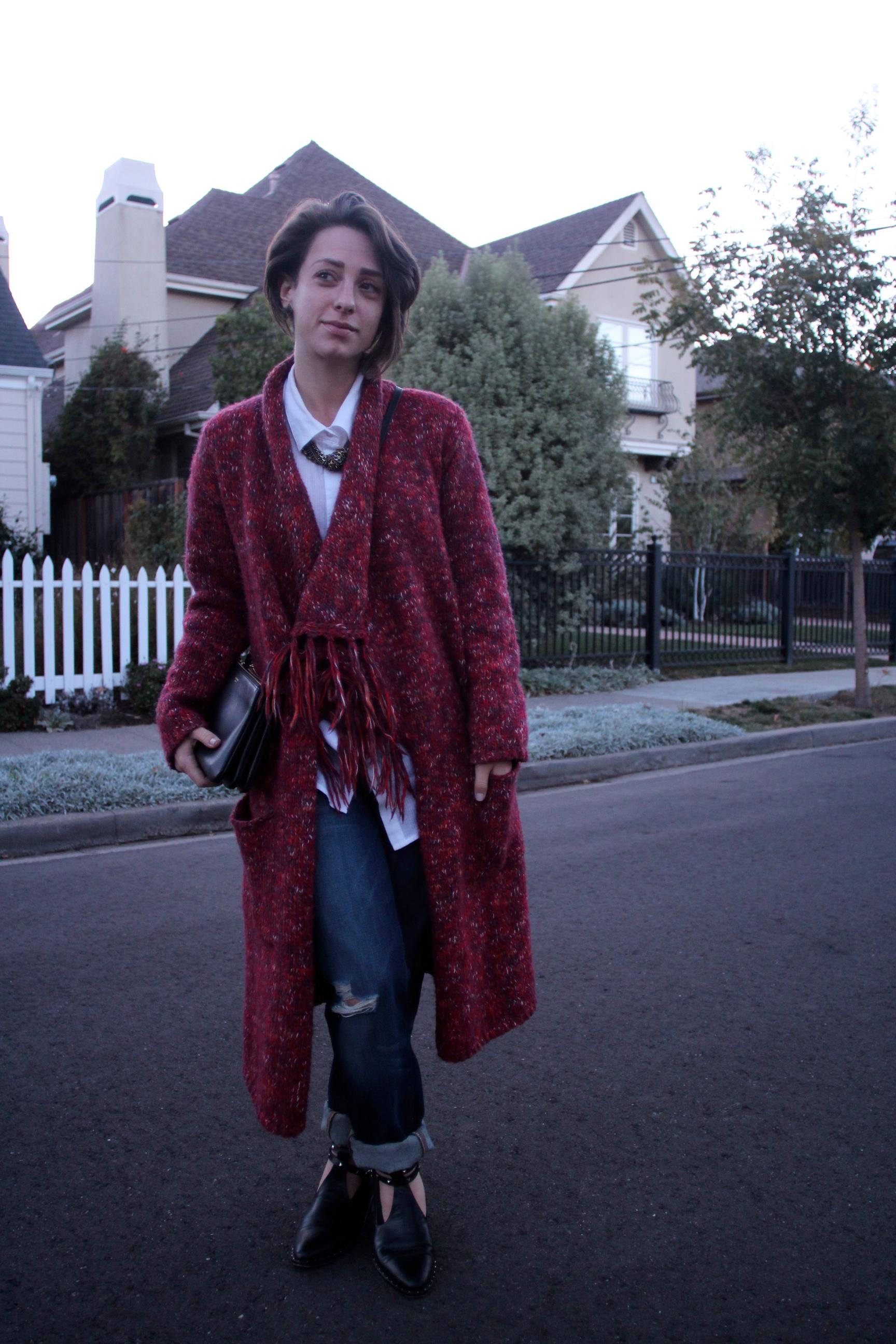 Sweater: Lucky Brand, Shirt: Elizabeth and James, Jeans: J Brand, Shoes: Freda Salvador, Bag: Celine Trio Bag