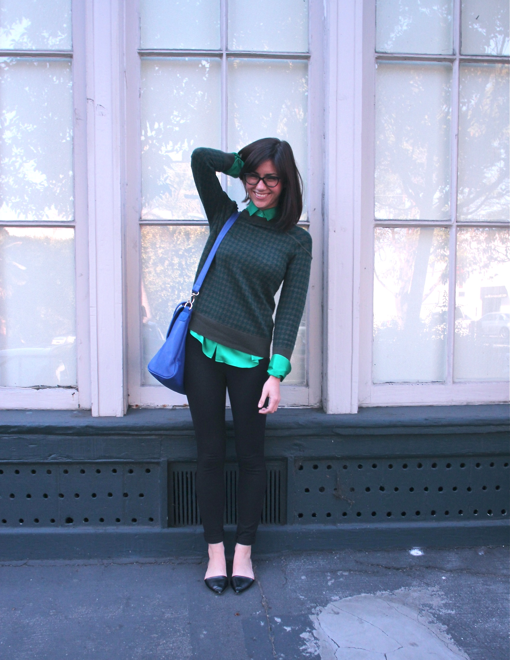 Blouse: United Colors of Benetton; Sweater: J.Crew;  Newman Pant: Babaton, Aritzia ; Flats: Zara