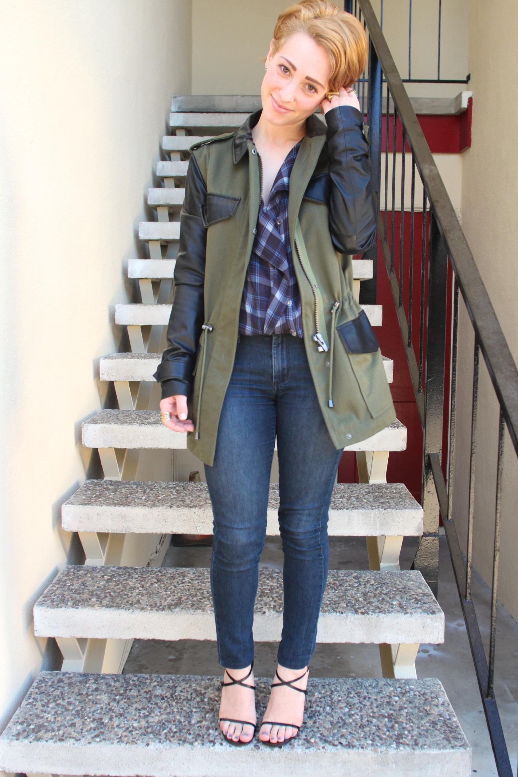"""Coat:  Veda  """"Jones"""" Trench, Top: Zara, Denim: James Jeans, Shoes: Gucci"""