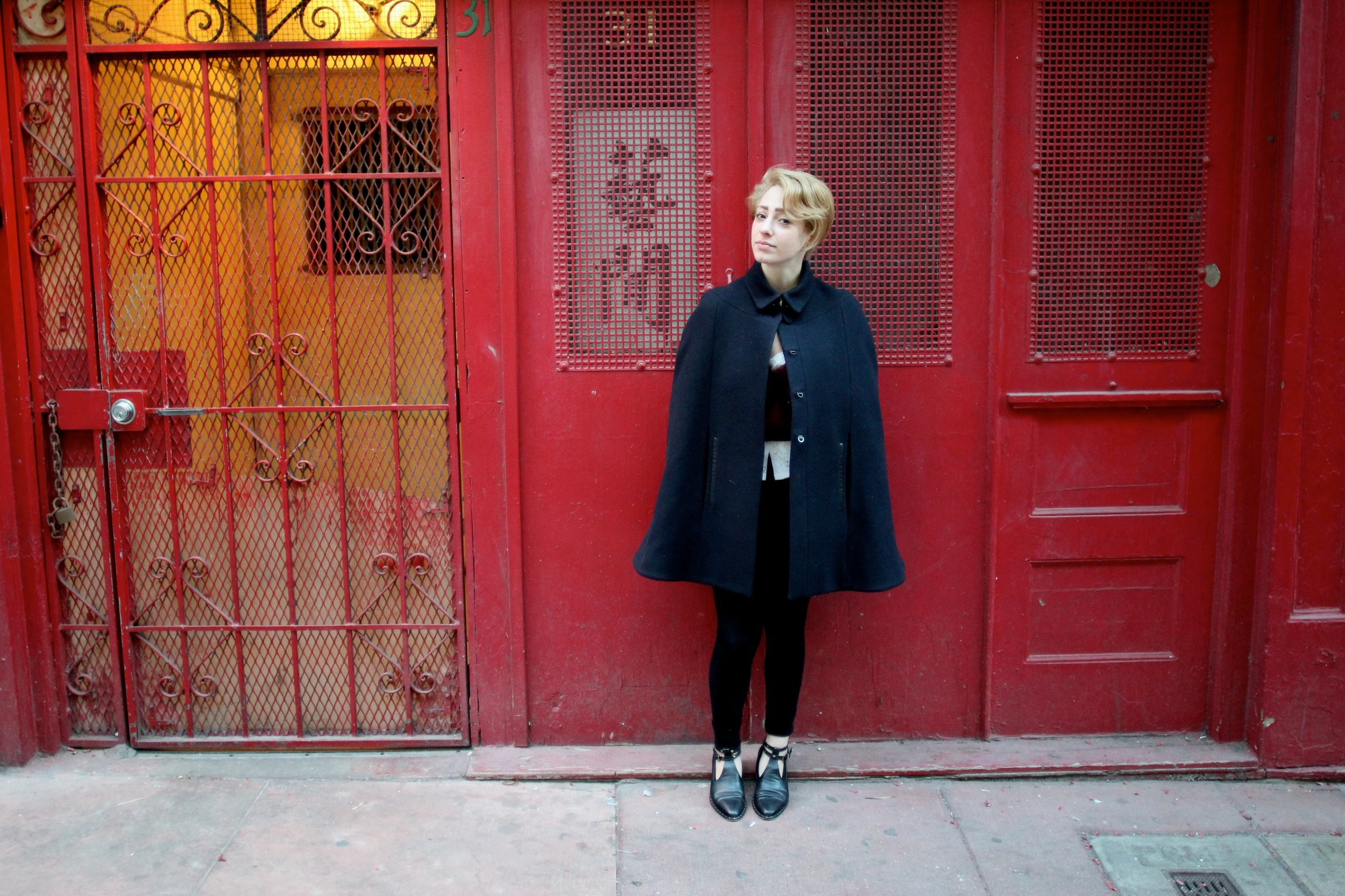 Cape:  Jigsaw London , Sweater:  Wilfred , Top:  After Life Boutique  (vintage), Corduroy Leggings: Vince, Shoes:  Freda Salvador